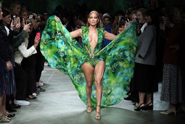 Jennifer Lopez walks the runway at the Versace show on Sept. 20, 2019, during Milan Fashion Week
