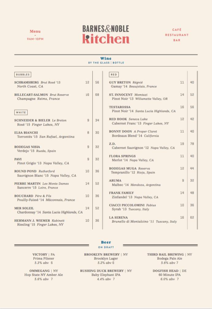 barnes noble menu