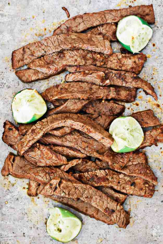 Thisgrilled chipotle lime steak fajita salad is made in 30 minutes (after a savory marinade time) and is a filling and nutritious meal to serve for dinner. It can also be made ahead for a meal prep lunch salad, and is full ofdeliciousflavor. || The Butter Half #salad #lunch #easyrecipe #chipotle #thebutterhalf