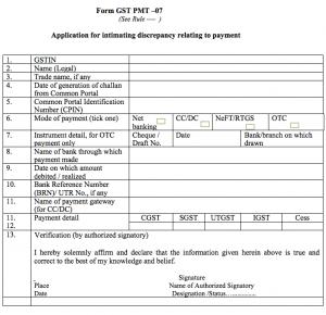 filling Form GST PMT-07 for proprietor, company, startup