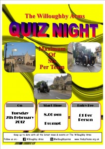 Willoughby Arms Pub Quiz - 7 February 2012