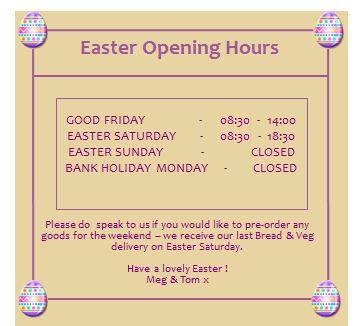 The No.10 Store : Easter opening times 2013