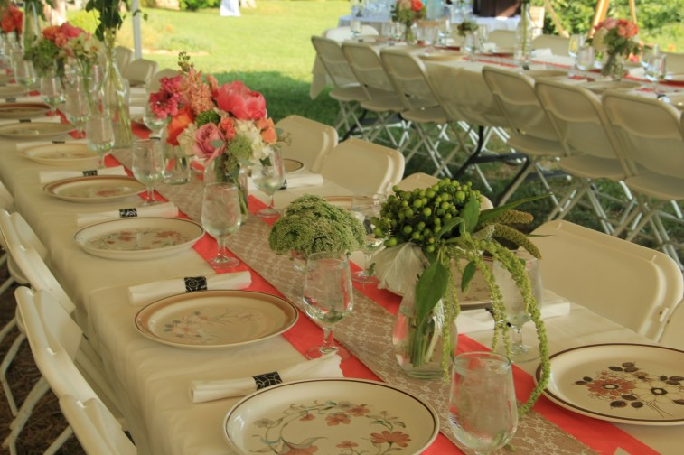 Banquet Tables with Vintage Plates