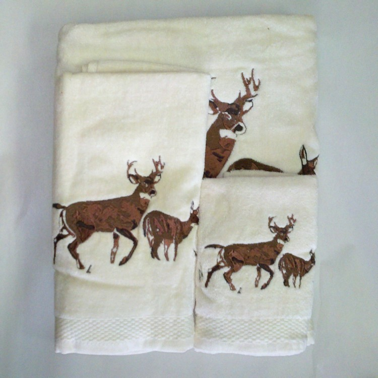 cabin kitchen decor wicker chairs embroidered deer towel set-cream