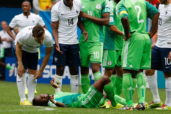 Onazi in agony at the 2014 World Cup