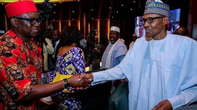 Image result for buhari fayose shake hands