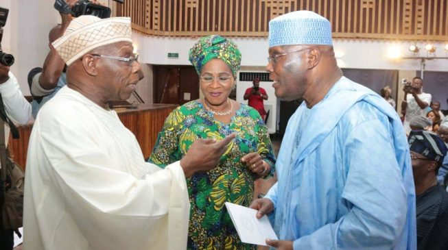 Image result for Atiku, Obasanjo 'reunite' in Lagos