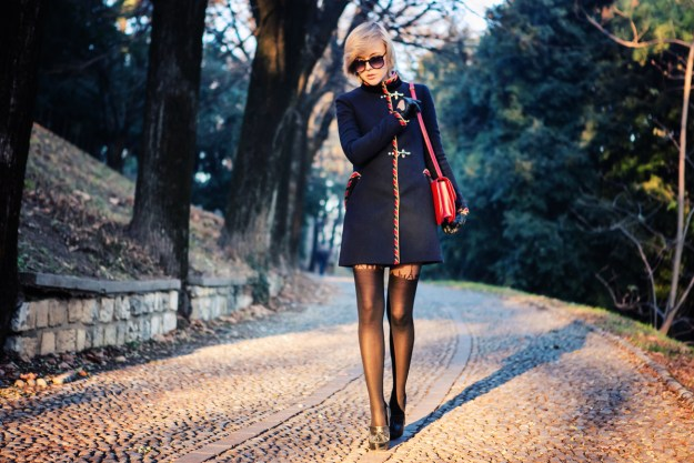 darya kamalova thecablook fashion blog russian blogger italy moda street style pixie short hair fashion blogger celine classic box bag red efil tower tights asos fay coat topshop chunky heels star ring thallo red leather skirt etro shirt brescia-5 cop