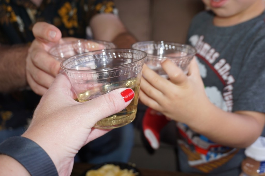 Cheers! Including an injured child to all activities while on vacation can make it fun for them.