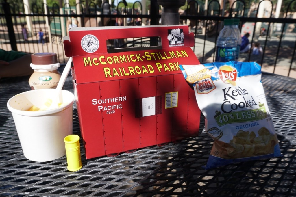 My son loves the children's meal at McCormick-Stillman Railroad Park.