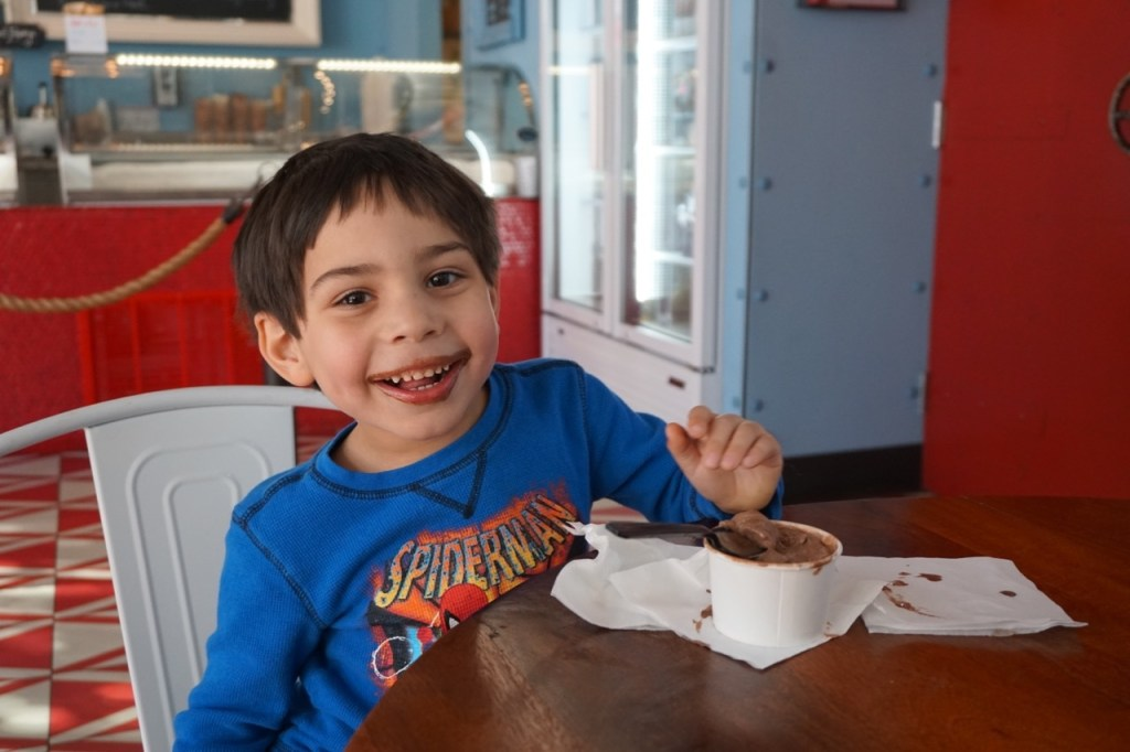 My son loved the chocolate ice cream, in case you couldn't tell from the picture :)