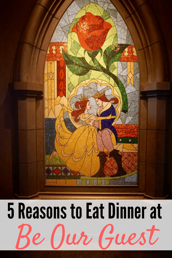 From the beautiful decor in the ballrooms to the delicious food on the menu, here are 5 reasons to eat dinner at Be Our Guest, a restaurant located in Disney World!