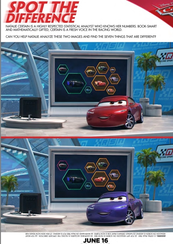 Free activity sheets for Cars 3:  Spot the Difference