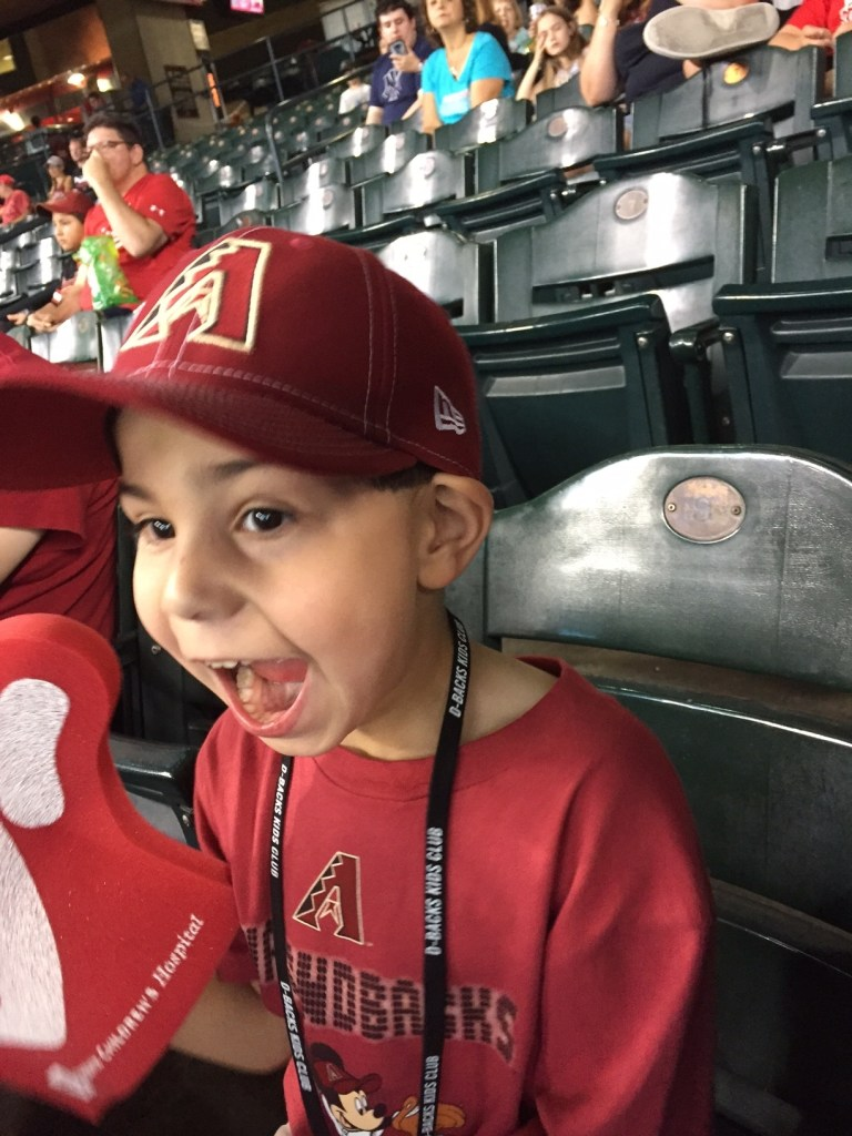 One of the benefits of being a member of the Kids Club - free kids tickets to Sunday games played at Chase Field.