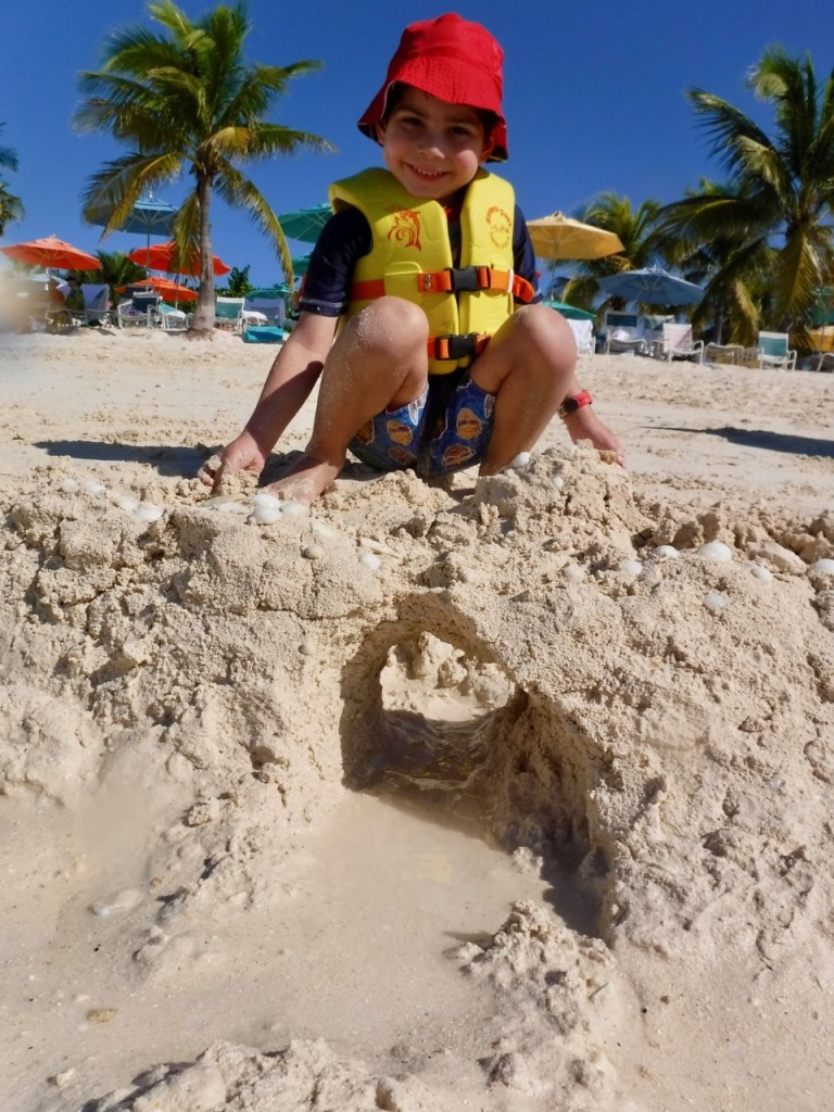 My son also enjoys building sandcastles on the beach at Castaway Cay, Disney's private island.