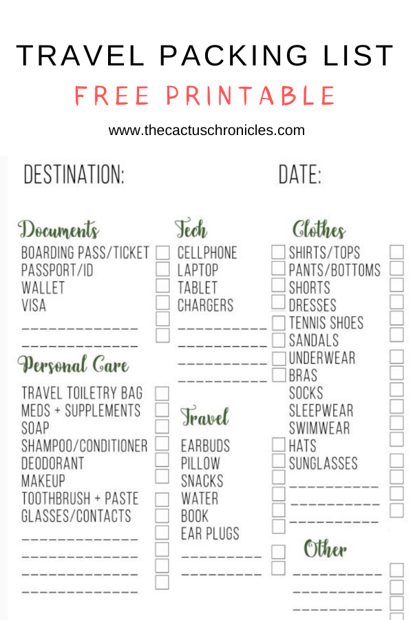 Free Travel Packing List Printable The Cactus Chronicles