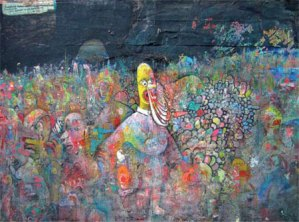 Homer in Gettysburg, acrylic & mixed media on paper by Andrew Abbott