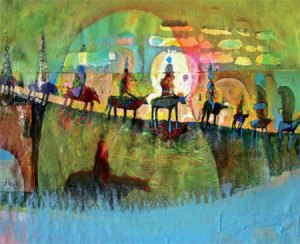 Ten of Them and Their Horses, acrylic & mixed media on paper by Andrew Abbott