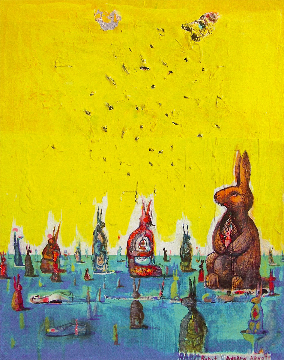 rabit rabit, acrylic & mixed media on paper by Andrew Abbott