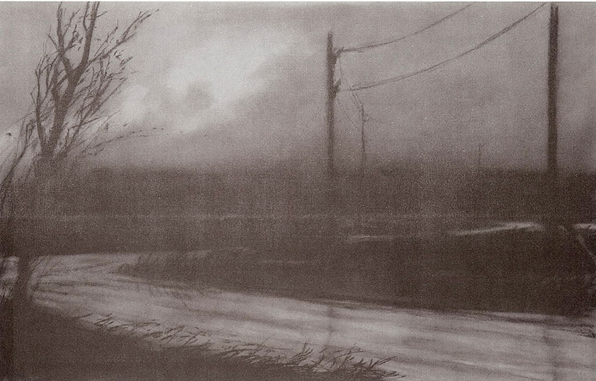 Norman Lundin, Rural Road at Night, 14inch x 22inch, charcoal