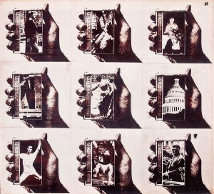 """Untitled c. 1965, 9 part positive Verifax collage on paperboard, 18""""x20"""" by Wallace Berman"""