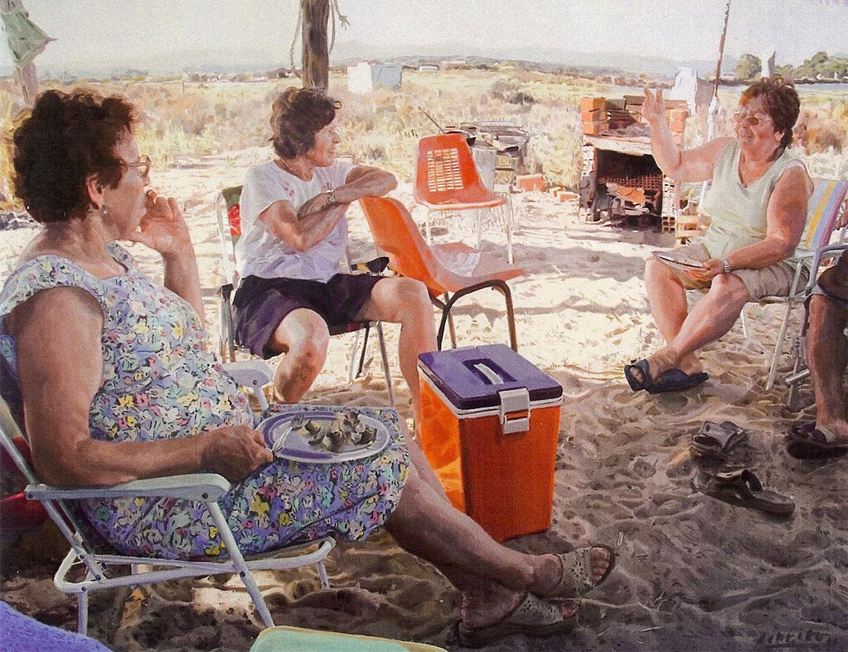 """Men on Faro Beach, oil on canvas, 74""""x96"""" by Michael De Brito"""