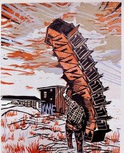 Moving Season, woodcut by Kyle Bryant