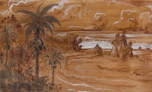 "Dusk Manuel Antonio (right panel detail), ink and gouache drawing 11.25""x35"" (left and right combined) by Stephen Burt"