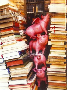 Flying Pigs Antiquarian Bookshop Paris, photograph by Roger Camp