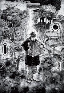 "Mr. Merrimack, etching, aquatint, drypoint, spit bite 13""x19"" by Bill Cass"