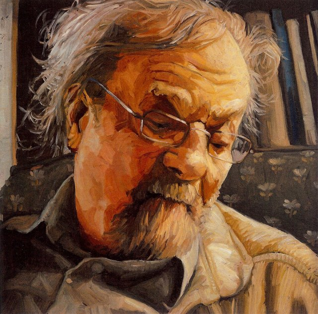 "Donald Hall, black oil on copper, 6""x6"", 2007 by Jack Richard Smith"