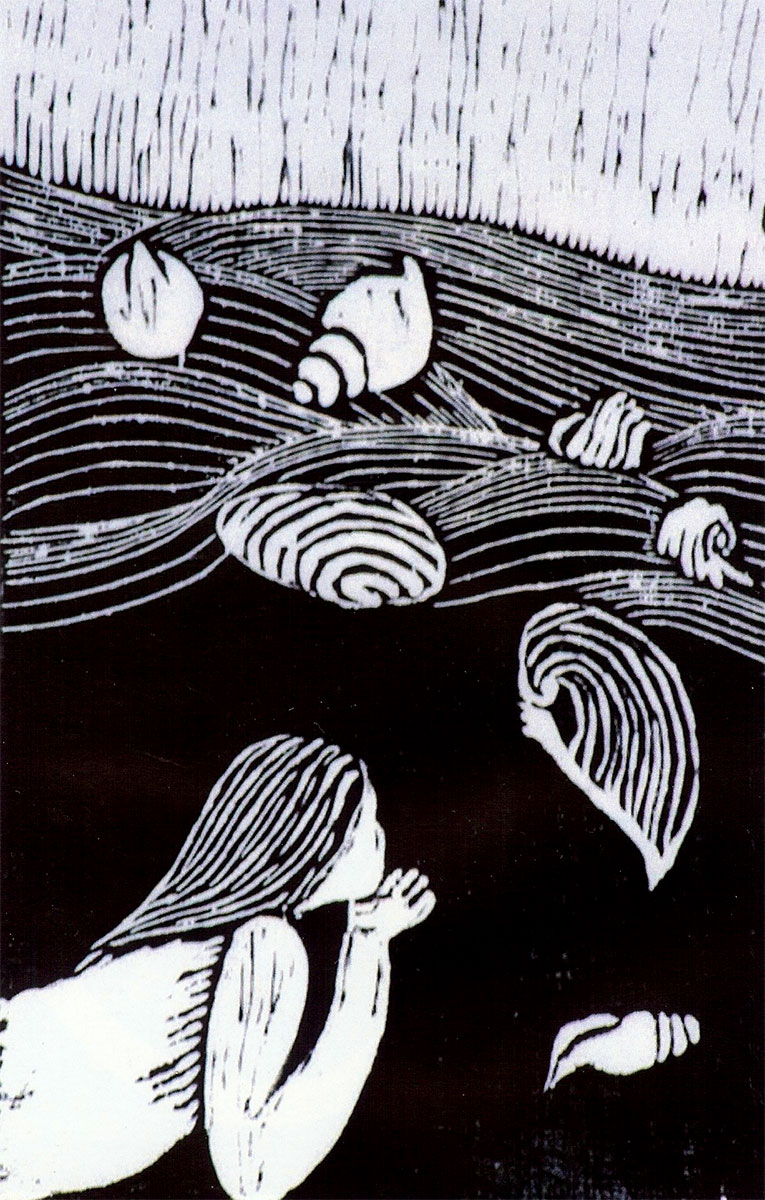 Black Sands, woodcut by Nonie O'Neill