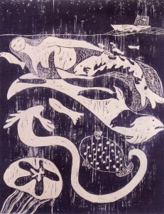 Sedna, Fertility of the Sea, woodcut by Nonie O'Neill