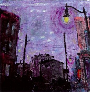 "Evening Eastport, mixed media on birch wood panels, 8""x8"" by Elizabeth Ostrander"