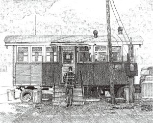 Gilly's, pen and ink drawing by Bill Paarlberg