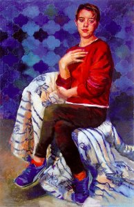 Blue Shoes Red Heart, pastel by Patricia Schappler