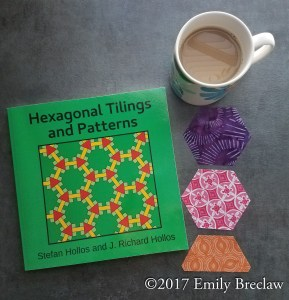 Hexagonal Tilings and Patterns book with a cup of coffee