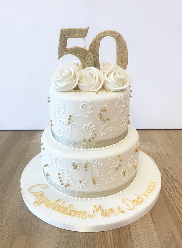 Golden Wedding Anniversary Cake The Cakery Leamington Spa