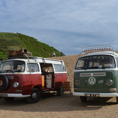 Classic campers in car park, Dorset