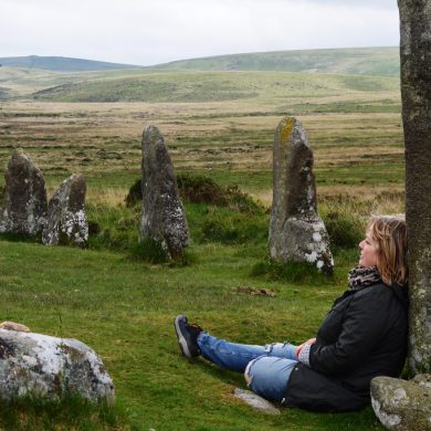 Relaxing in an ancient stone circle