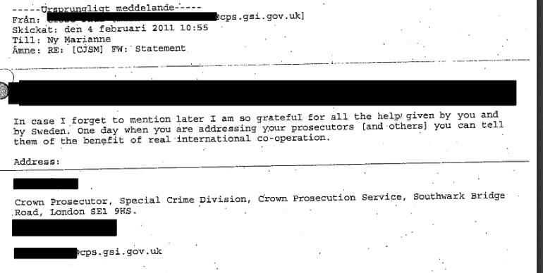CPS email re Julian Assange case