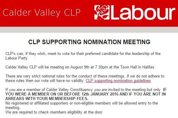 Calder Valley CLP supporting nominations