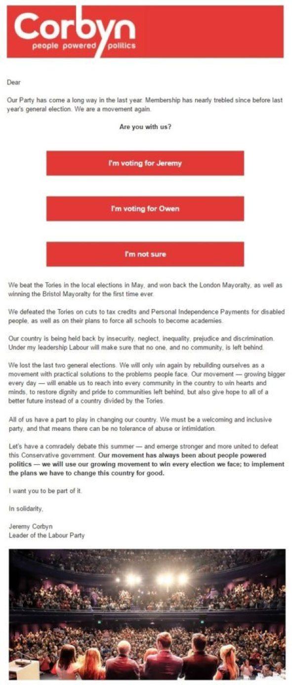 Jeremy Corbyn email
