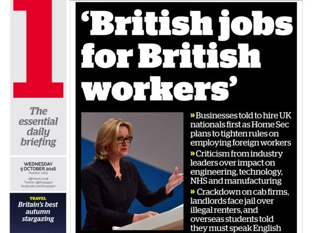 """i front page - """"British jobs for British workers"""""""