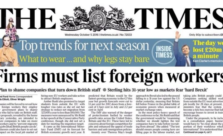 """Times front page - """"Firms must list foreign workers"""""""
