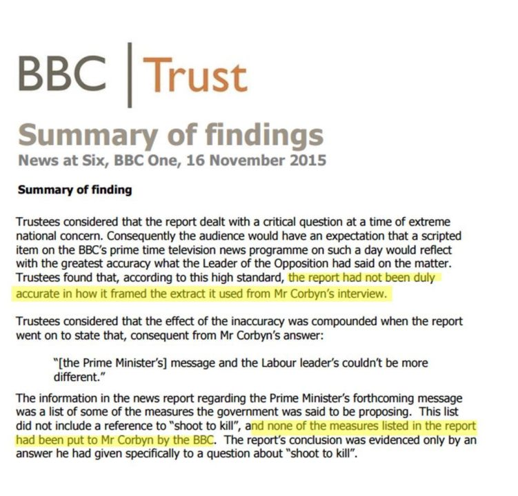 BBC Trust Corbyn Tories Shoot To Kill