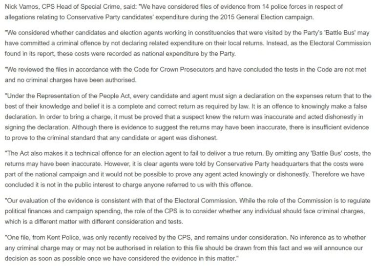 CPS Tory Election Fraud Statement
