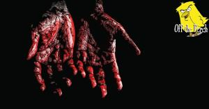 Hands with blood on them
