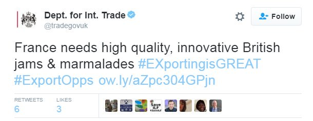 Tweet from the department for international trade talking about innovative jams