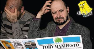 Two men confused by the Tory manifesto